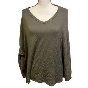 Vintage Havana Olive Green V-Neck Pullover Sweater